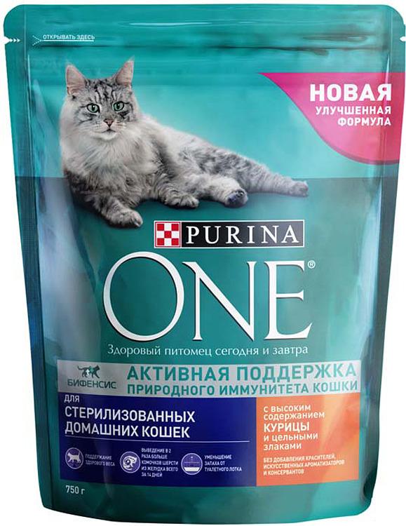 Корм сухой Purina One Sterilized для кастрированных котов и стерилизованных кошек, с курицей и цельными злаками, 750 г корм для стерилизованных кошек и котов purina one с лососем и пшеницей 200 г