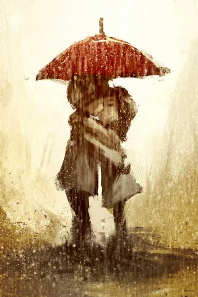 Картина Экорамка Поцелуй под дождем, Холст