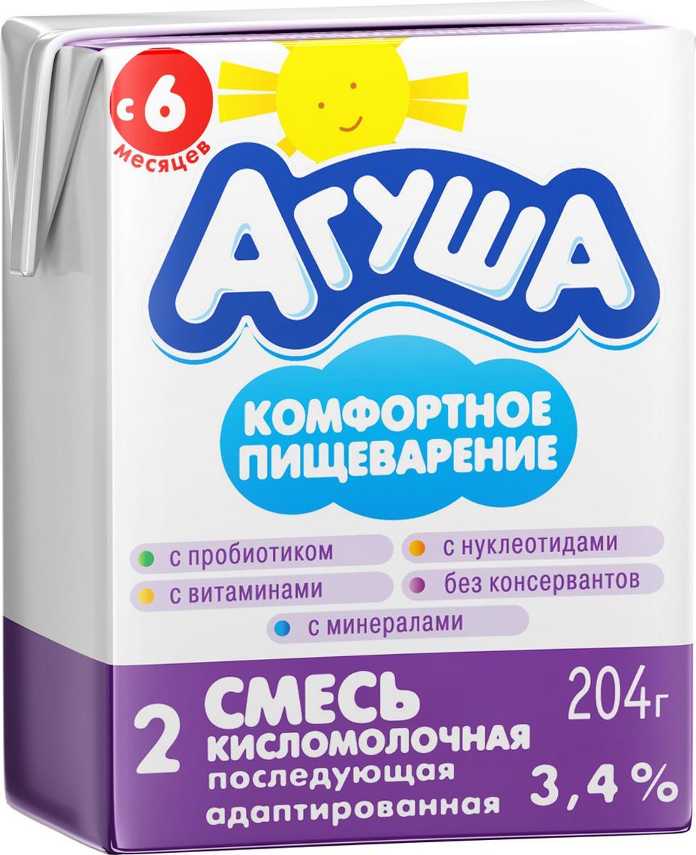 Смесь кисломолочная 3,4% с 6 месяцев Агуша-2, 204 г