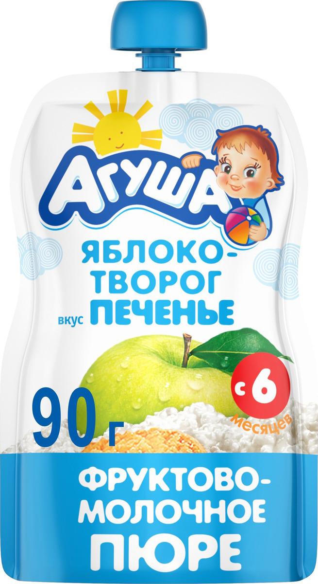 Пюре фруктовое с 6 месяцев Агуша Яблоко-Банан-Печенье, 90 г