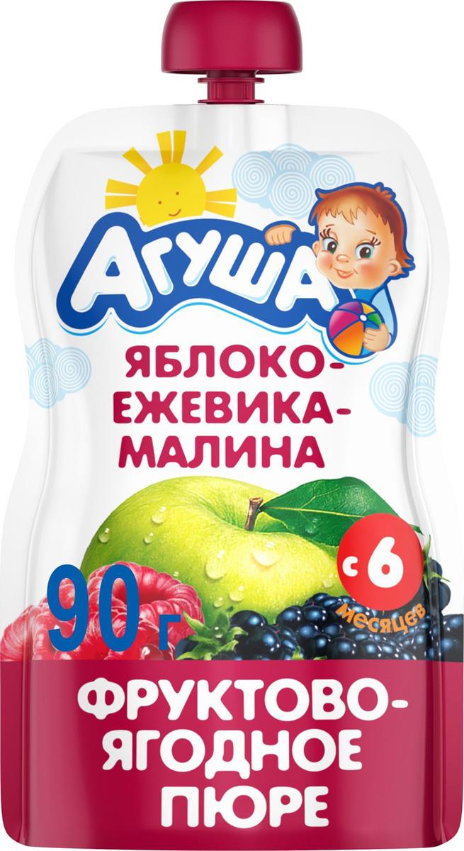 Пюре фруктовое с 6 месяцев Агуша Яблоко-Ежевика-Малина, 90 г