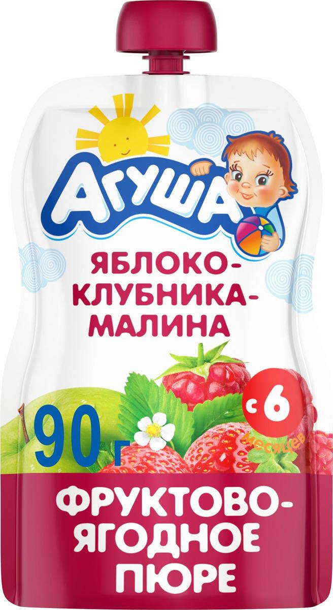 Пюре фруктовое с 6 месяцев Агуша Яблоко-Клубника-Малина, 90 г