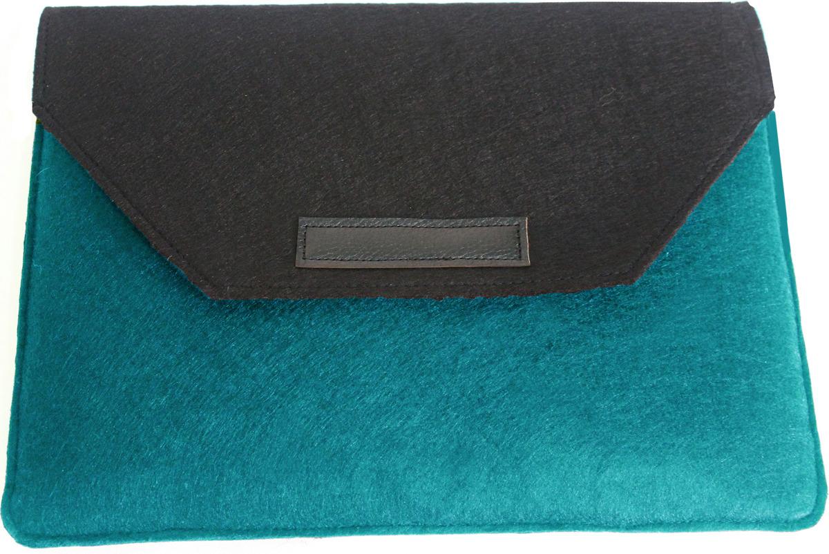 """Папка для ноутбука Vivacase Felt для MacBook 12-13.3"""", черный, голубой"""