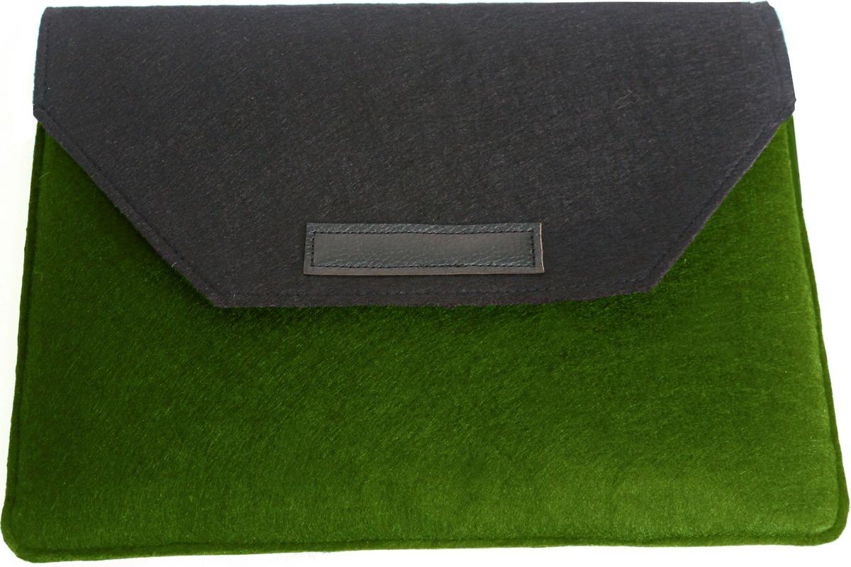 """Папка для ноутбука Vivacase Felt для MacBook 12-13.3"""", черный, зеленый"""
