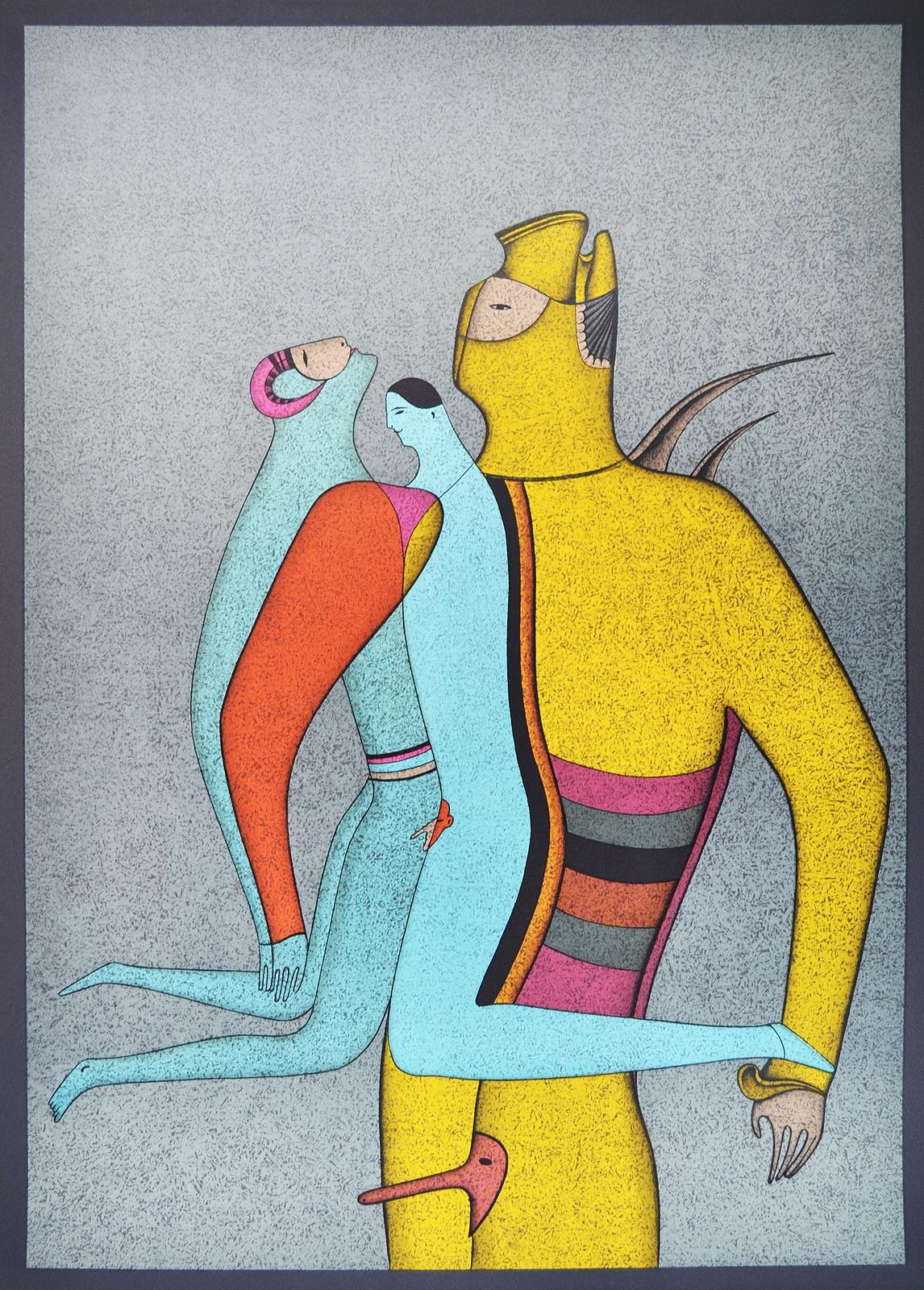 Гравюра Михаил Шемякин Любовь / Туз Пик. Михаил Шемякин. Литография, 1982 год