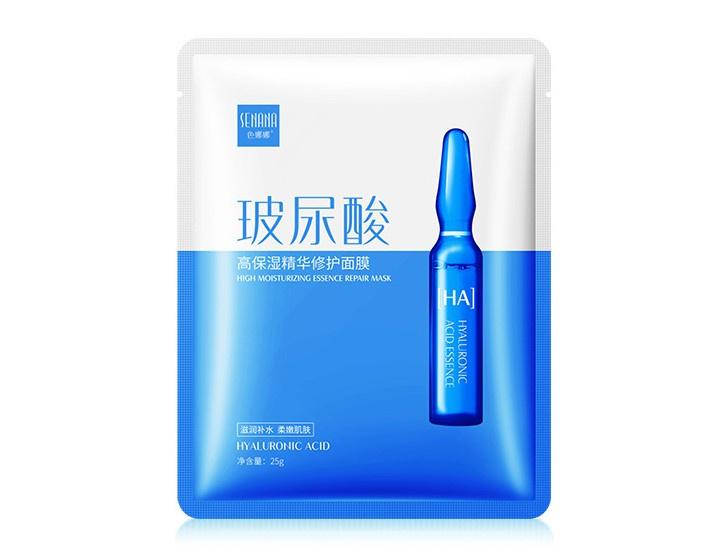 Маска косметическая SENANA Интенсивно увлажняющая и восстанавливающая маска для лица на основе гиалуроновой кислоты, 25 гр.