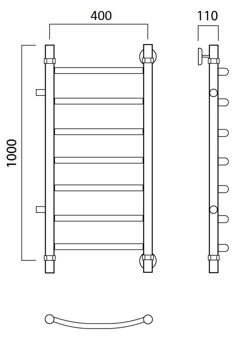 Водяной полотенцесушитель Роснерж Дуга L104001 100x40 с боковым подключением 600 мм Роснерж