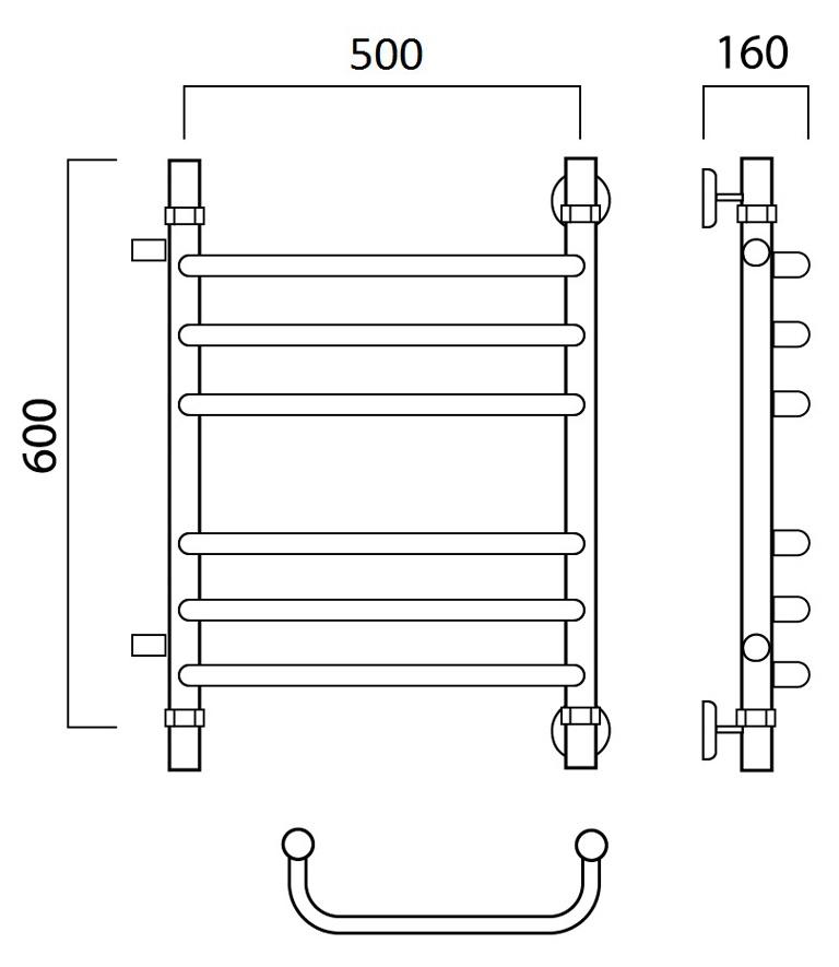 Водяной полотенцесушитель Роснерж Скоба L102011 60x50 с боковым подключением 500 мм групповой Роснерж