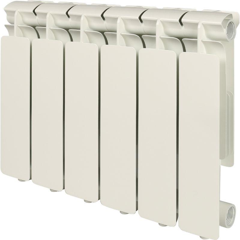 Секционный радиатор Stout Bravo 350, алюминиевый, SRA-0110-035006, белый, 6 секций радиатор отопления stout bravo 350 12 секций алюминиевый боковое подключение