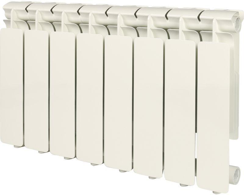 Секционный радиатор Stout Bravo 350, алюминиевый, SRA-0110-035008, белый, 8 секций радиатор отопления stout bravo 350 12 секций алюминиевый боковое подключение