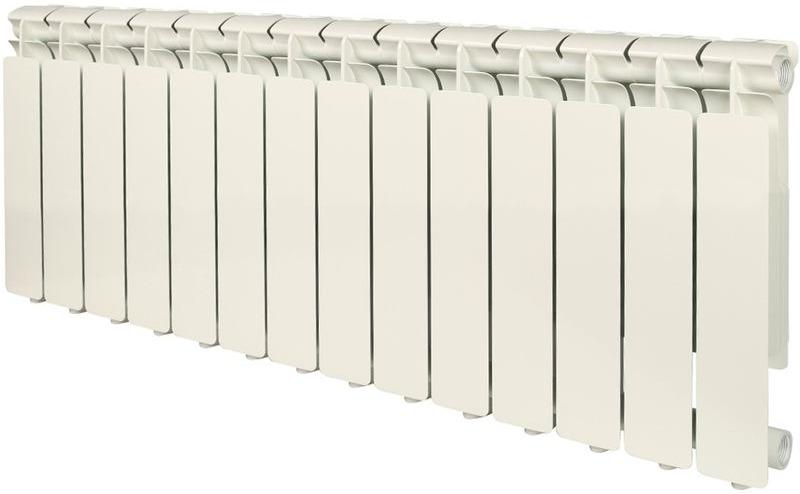 Секционный радиатор Stout Bravo 350, алюминиевый, SRA-0110-035014, белый, 14 секций отвод stout 90 градусов диаметр 60 100 м п pp fe с адаптером совместим с baxi и viessmann sca 8610 210090
