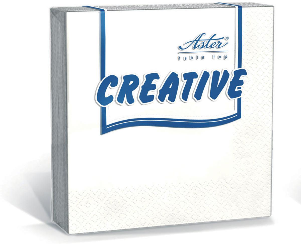 Салфетки бумажные Aster Creative, белый, 3-слойные, 33 х 33 см, 20 шт салфетки бумажные duni белые розы 3 слойные 33 х 33 см 20 шт