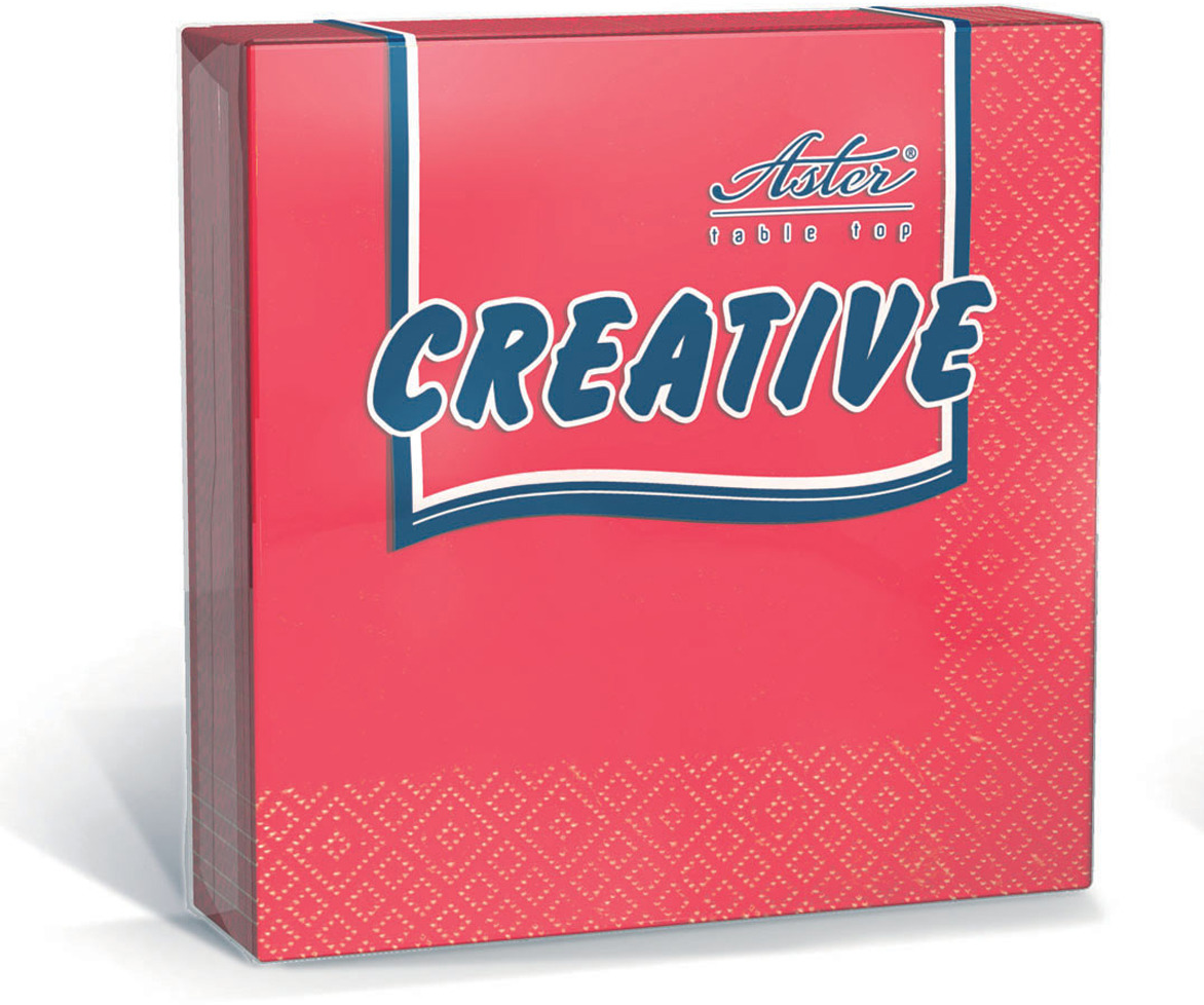 Салфетки бумажные Aster Creative, красный, 3-слойные, 33 х 33 см, 20 шт салфетки бумажные duni белые розы 3 слойные 33 х 33 см 20 шт