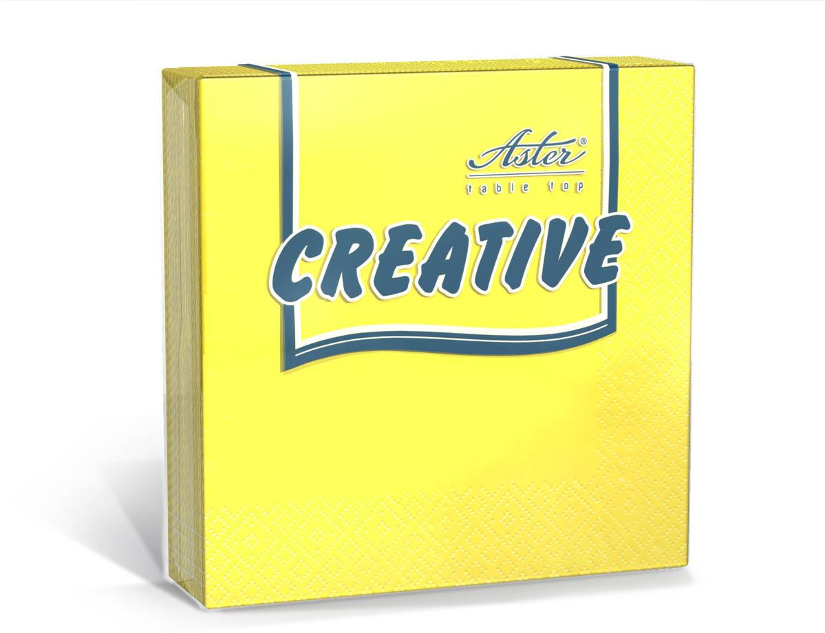 Салфетки бумажные Aster Creative, желтый, 3-слойные, 35 х 33 см, 20 шт салфетки бумажные duni белые розы 3 слойные 33 х 33 см 20 шт