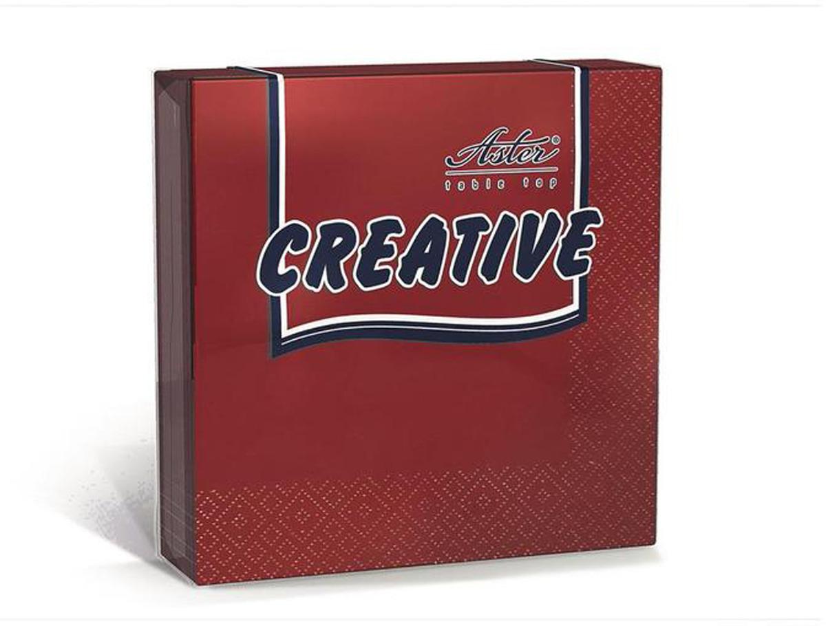 Салфетки бумажные Aster Creative, бордовый, 3-слойные, 33 х 33 см, 20 шт салфетки бумажные duni белые розы 3 слойные 33 х 33 см 20 шт