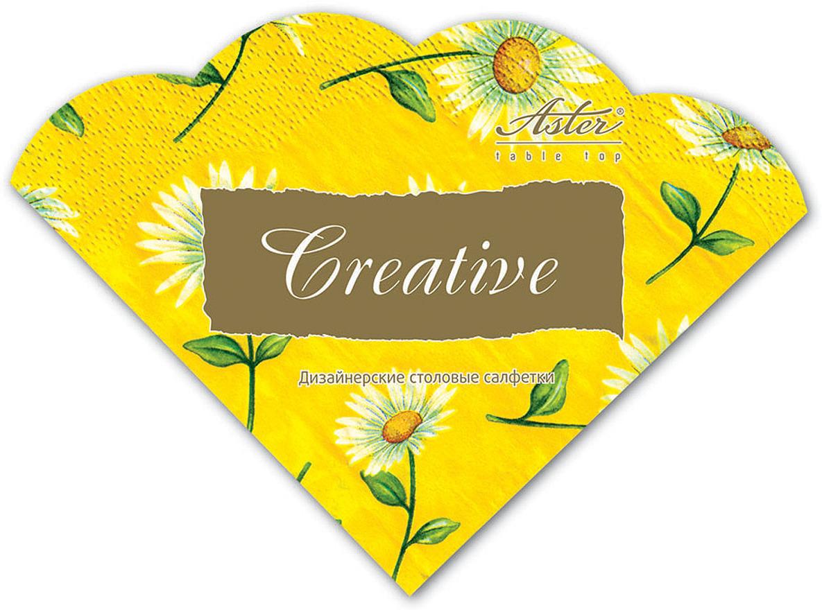Салфетки бумажные Aster Creative round Солнечная ромашка, 3-слойные, 12 шт салфетки бумажные familia радуга 100 шт без отдушки