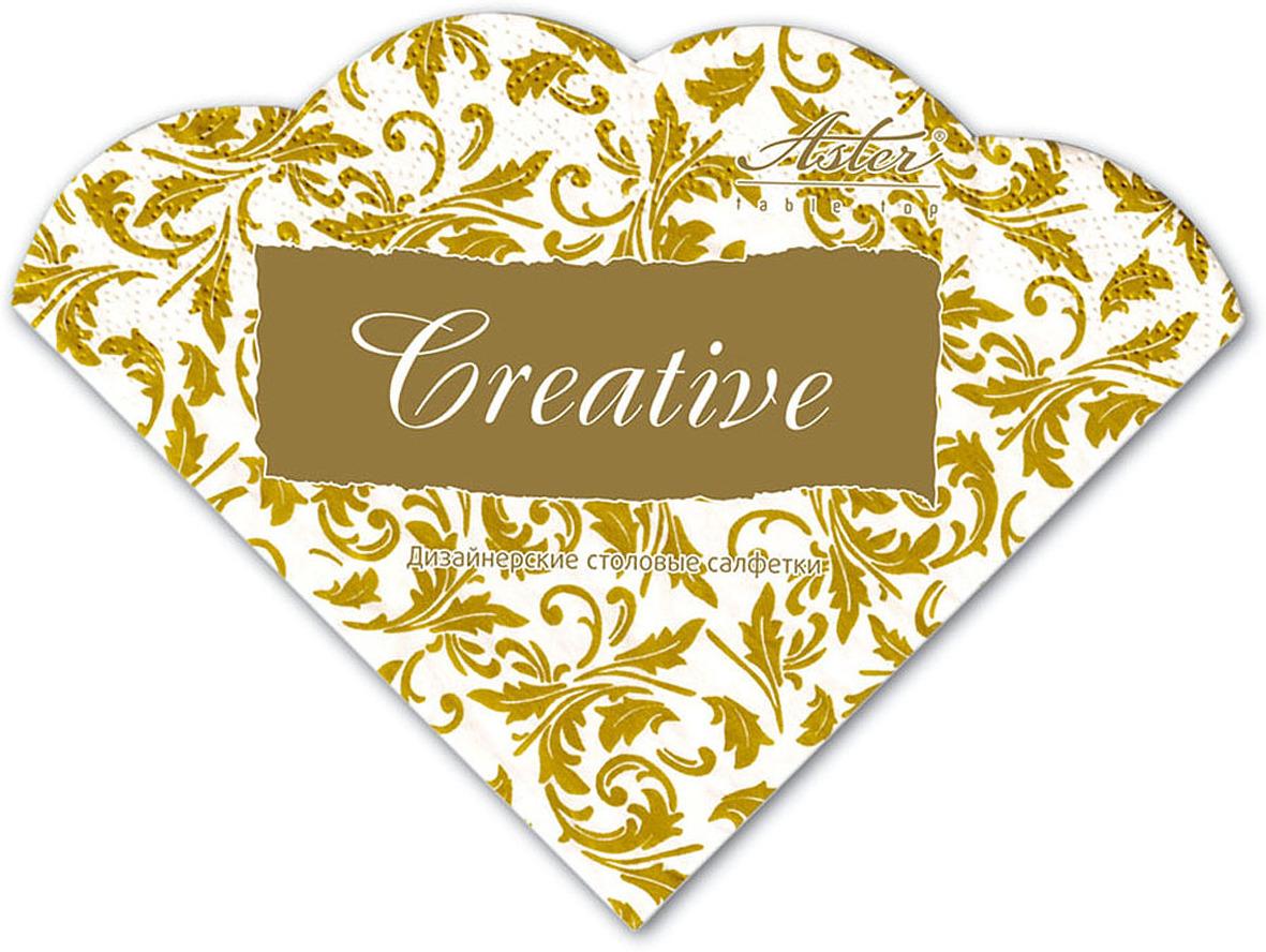 Салфетки бумажные Aster Creative round Арабески бело-золотые, 3-слойные, 12 шт салфетки бумажные familia радуга 100 шт без отдушки