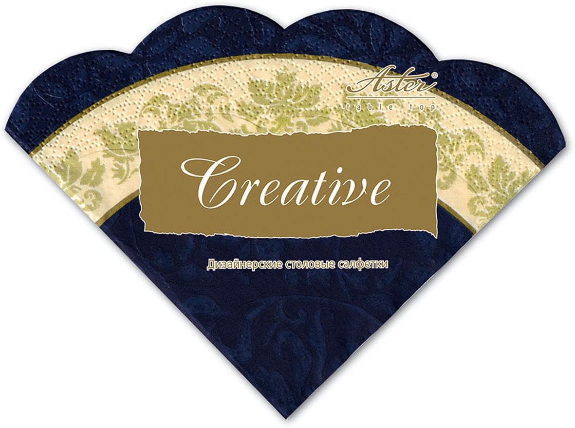 Салфетки бумажные Aster Creative round Синяя с каймой, 3-слойные, 12 шт салфетки бумажные familia радуга 100 шт без отдушки
