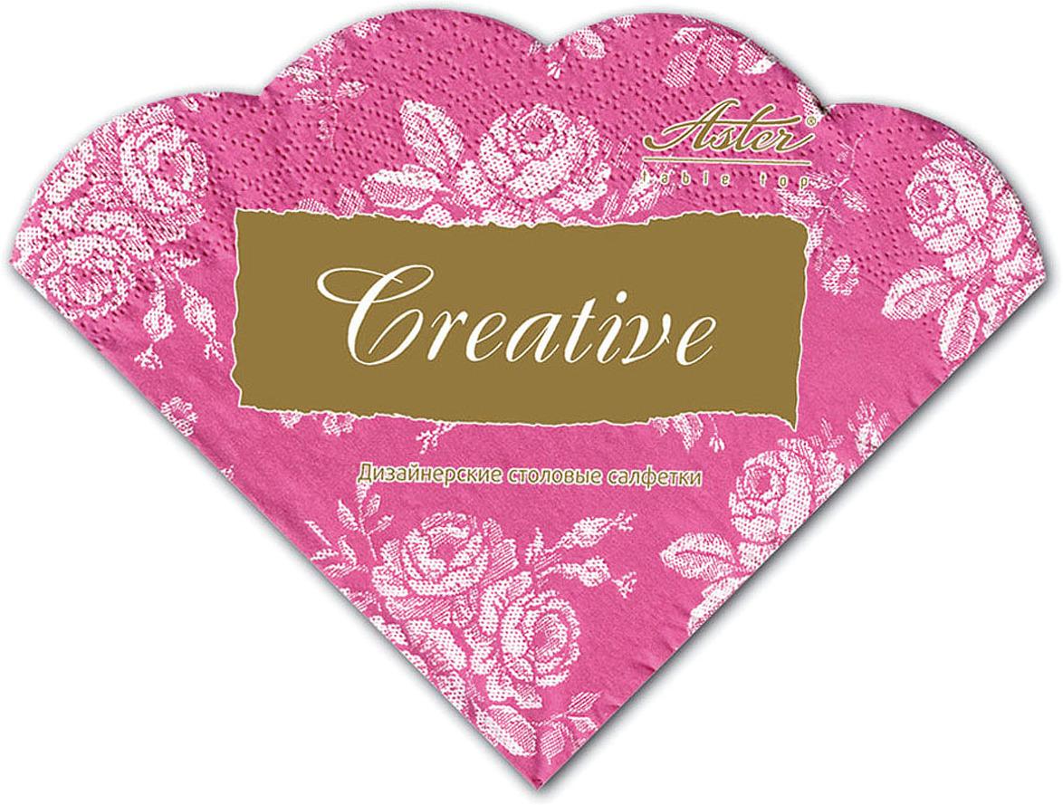 Салфетки бумажные Aster Creative round Розовый винтаж, 3-слойные, 12 шт салфетки бумажные familia радуга 100 шт без отдушки