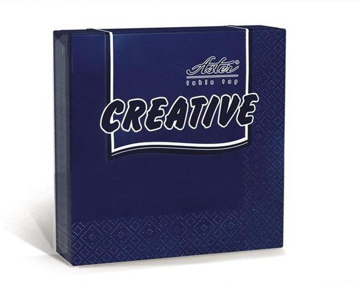 Салфетки бумажные Aster Creative, синий, 3-слойные, 24 х 24 см, 20 шт салфетки бумажные duni 125 шт 2 слойные 40 х 40 см цвет красный 180415
