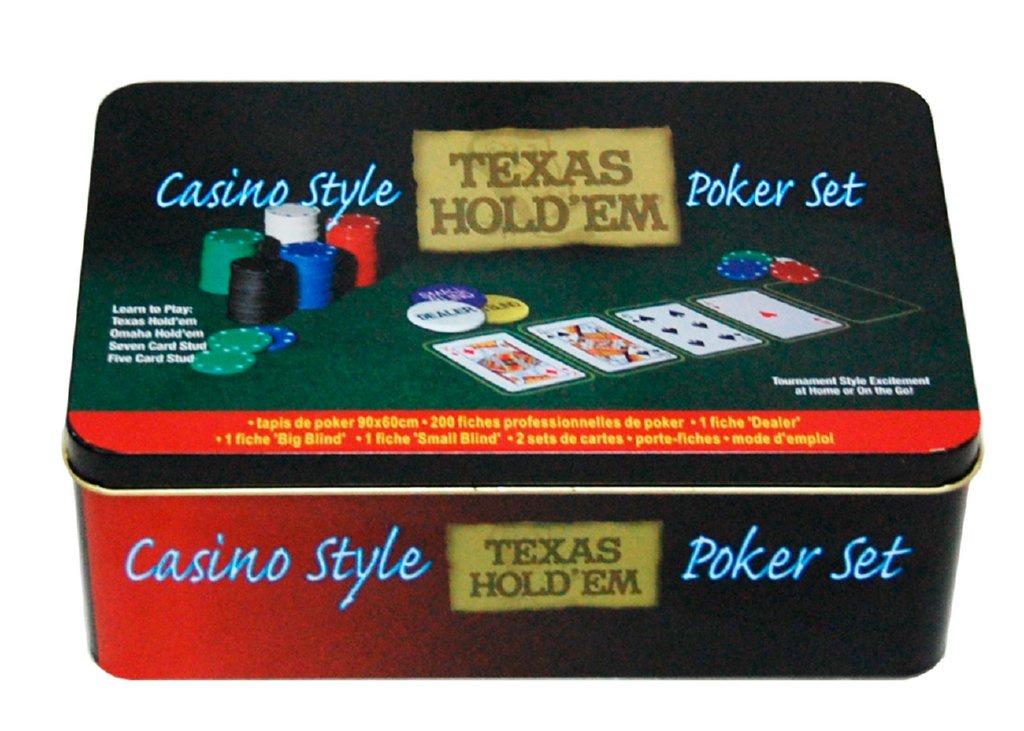Набор для покера Компания Игра Металл. банка для покера Техас Холдем (2х54л.(карты Австрия)+200 ф. по 4г с номин.+сукно+3 ф.дилера) ГД2 черный, зеленый фишки для покера с номиналом 11 5 г 25 штук