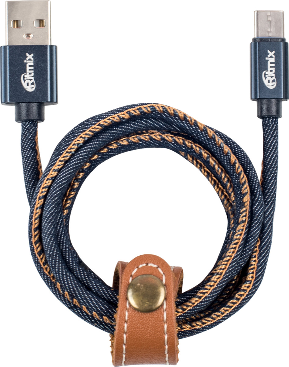 Кабель Ritmix RCC-417 USB - microUSB, синий, 1 м кабель ritmix microusb usb rcc 110 1 м black