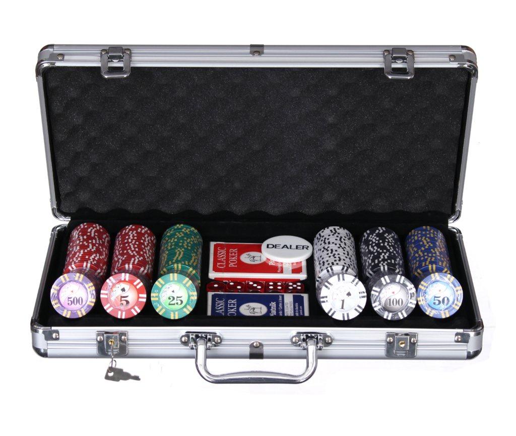 Набор для покера Компания Игра Дипломат для покера Роял Флеш) (2х54л.(карты Австрия)+5 игр.кост.+300 ф. по 9г с номин.+ф.дилера) ГД4/300 серебристый фишки для покера с номиналом 11 5 г 25 штук