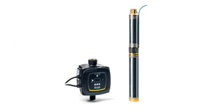 Погружной насос DAB Скважинный насос с частотным блоком управления MICRA HS 2/7, серебристый насос из нержавеющей стали