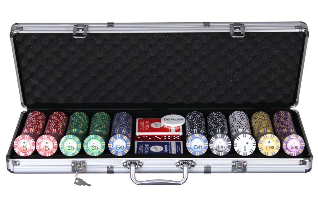 Набор для покера Компания Игра Дипломат для покера Роял Флеш  (2х54л.(карты Австрия)+5 игр.кост.+500 ф. по 9г с номин.+ф.дилера)ГД4/500 серебристый фишки для покера с номиналом 11 5 г 25 штук