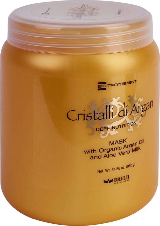 Маска для волос Brelil BioTreatment Argan, для глубокого восстановления, шелковистости и блеска, с маслом аргании и молочком алоэ, 1 л