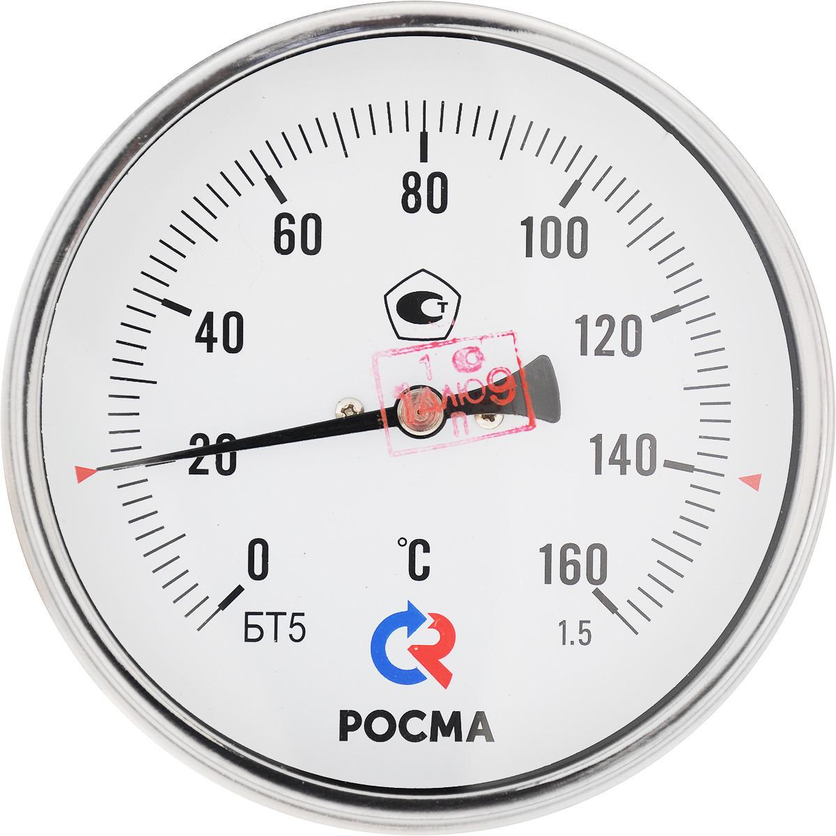 Термометр сантехнический Valtec БT-51 Дy 100 с задним подключением, 1/2 0-160* термометр сантехнический valtec бt 30 dy63 накладной 0 150