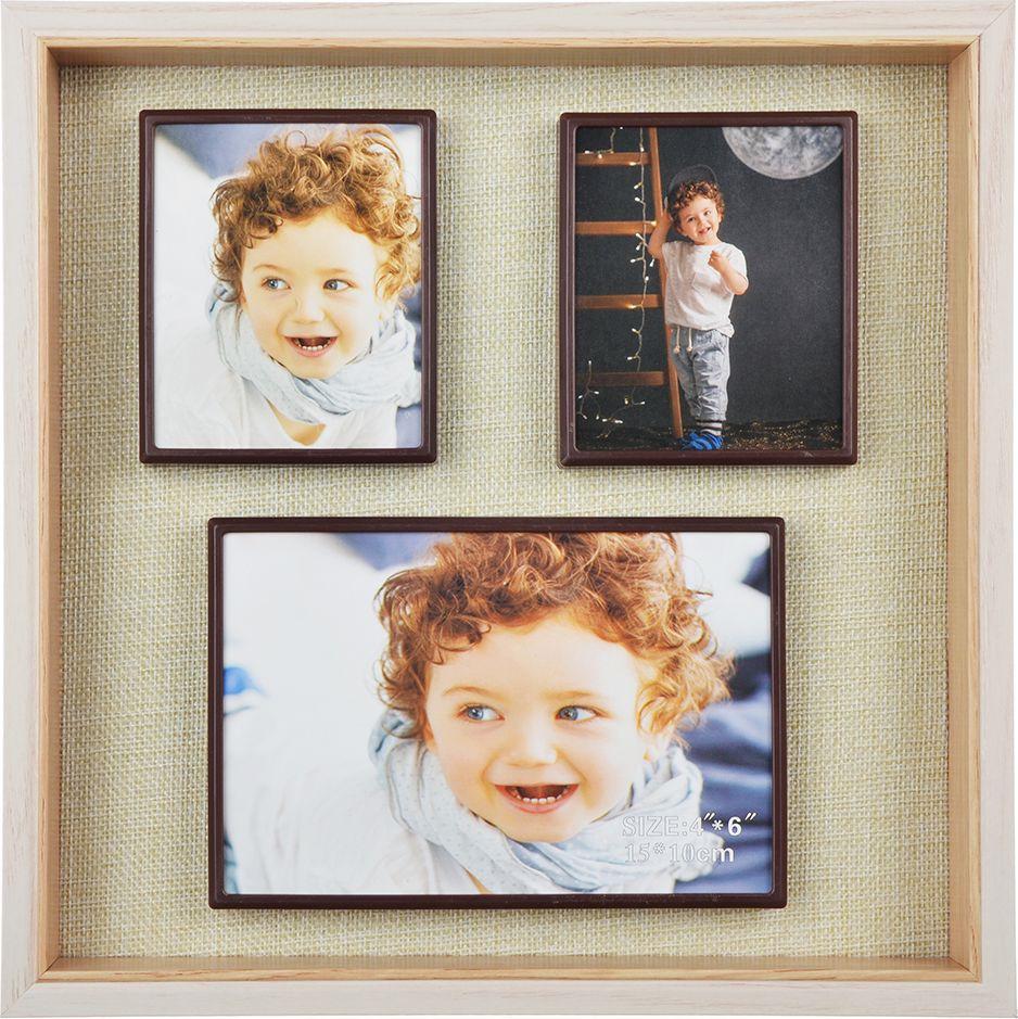 Фоторамка магнитная, 424011, коричневый, на 3 фотографии, 26,5 х 26,5 х 3,5 см