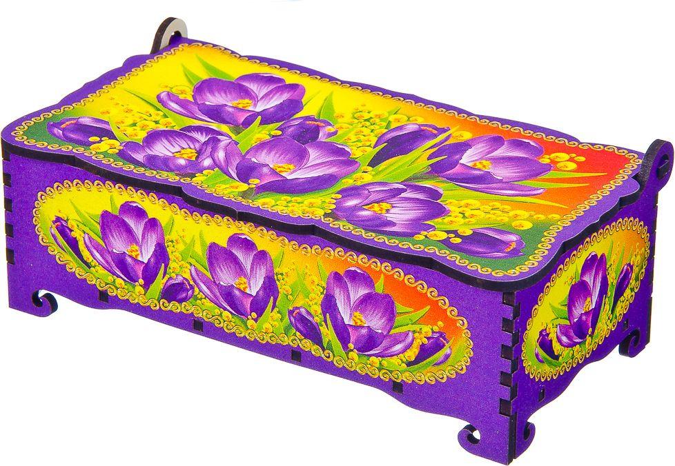 Шкатулка Крокус фиолетовый, 531114, 10 х 17 х 5,5 см