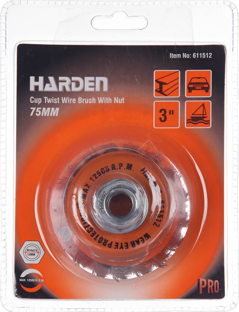 Щетка для УШМ Harden, 611512, М14 х 2, 75 мм щетка harden 75mm м14х2 611502