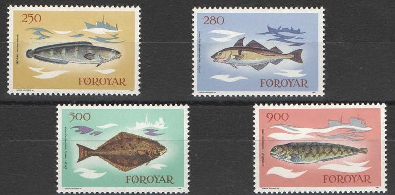 Марка Серия марок. Фарерские о-ва. Рыбы. 1983 год рыбы серия