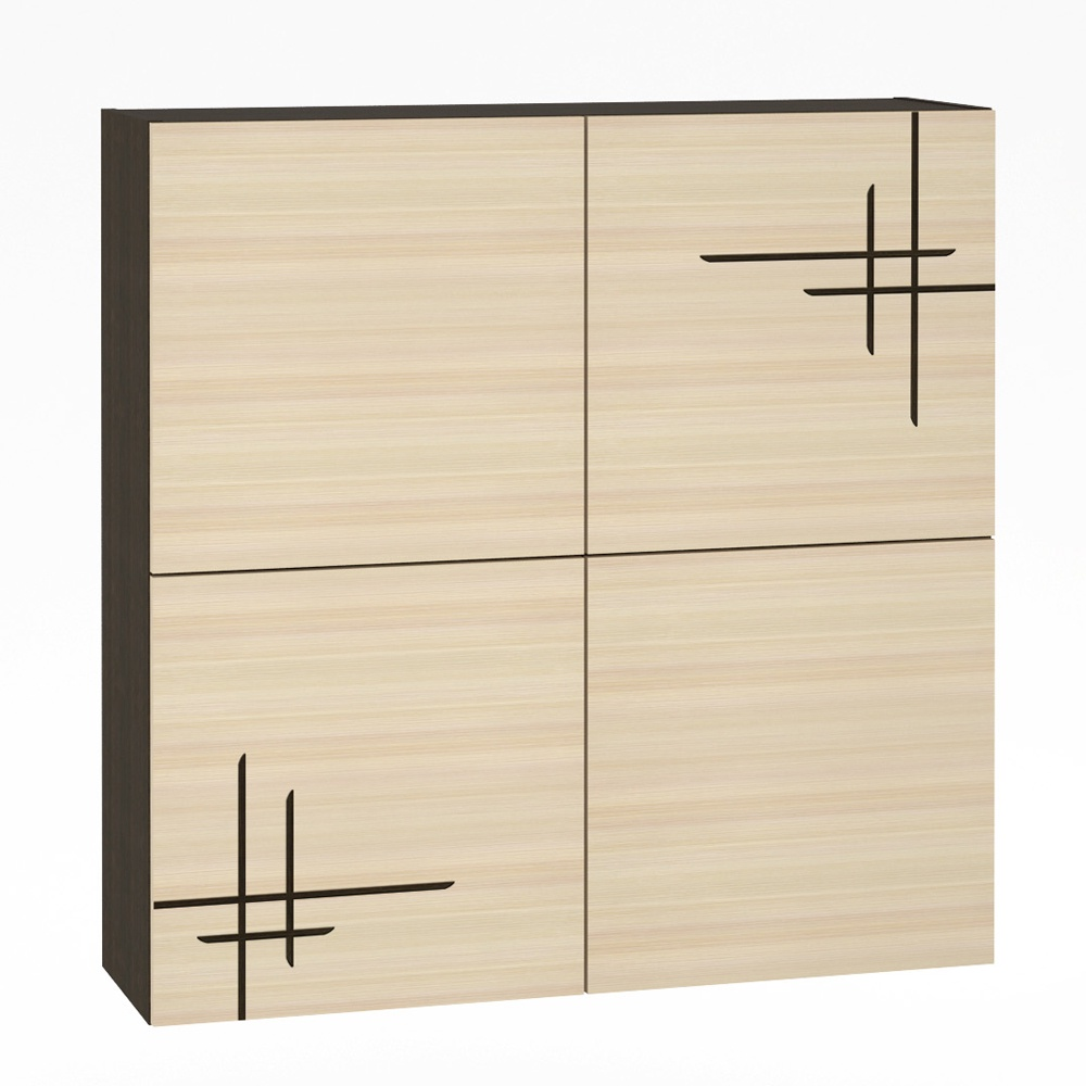 Шкаф Моби навесной Киото-1 904-К-01, цвет венге/дуб (с рисунком)