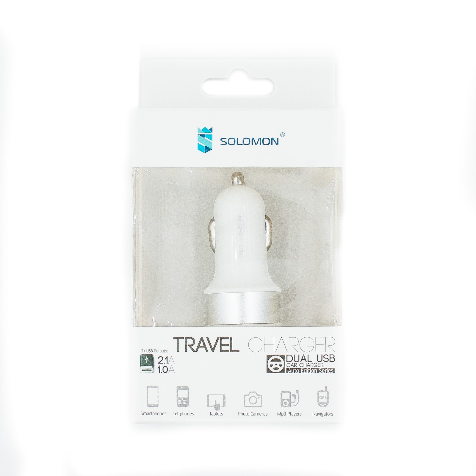 Автомобильное зарядное устройство Solomon Travel Charger 2,1А (2USB, серебристый)