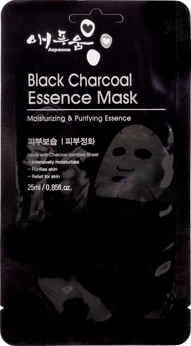Маска для лица Korea Aepwoom, с черным углем, 24 мл угольная маска от угрей
