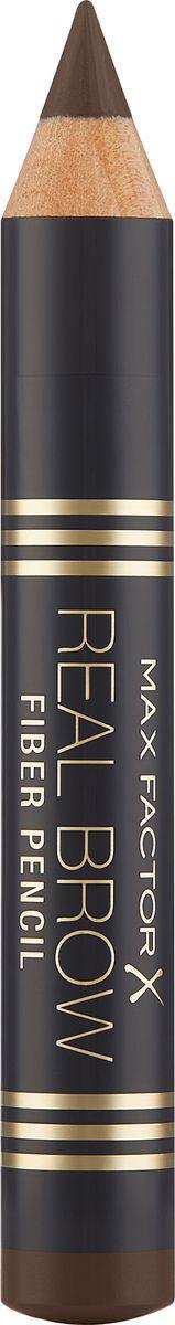 Карандаш для бровей Max Factor Real Brow Fiber Pencil, тон 004 deep brown max factor карандаш для бровей eyebrow pencil тон 02 hazel цвет светло коричневый