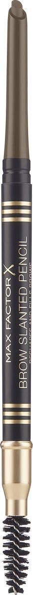 Карандаш для бровей Max Factor Brow Slanted Pencil, с щеточкой, тон 03 dark brown max factor карандаш для бровей eyebrow pencil тон 02 hazel цвет светло коричневый