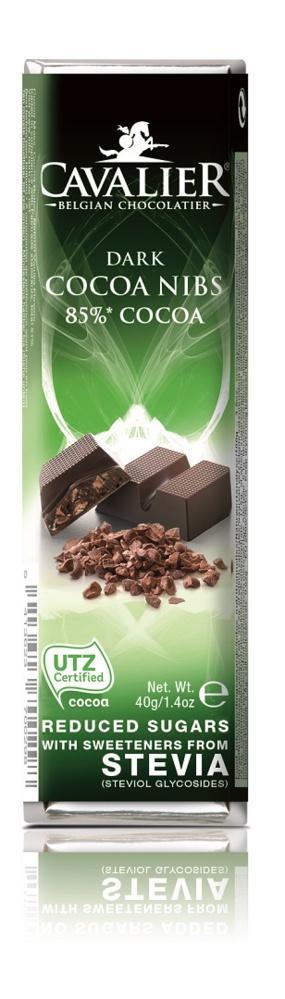 Шоколадный батончик Cavalier Бельгийский горький шоколад без сахара с кусочками какао бобов и стевией, 40 г шоколад mr cho горький шоколад без сахара 300 г