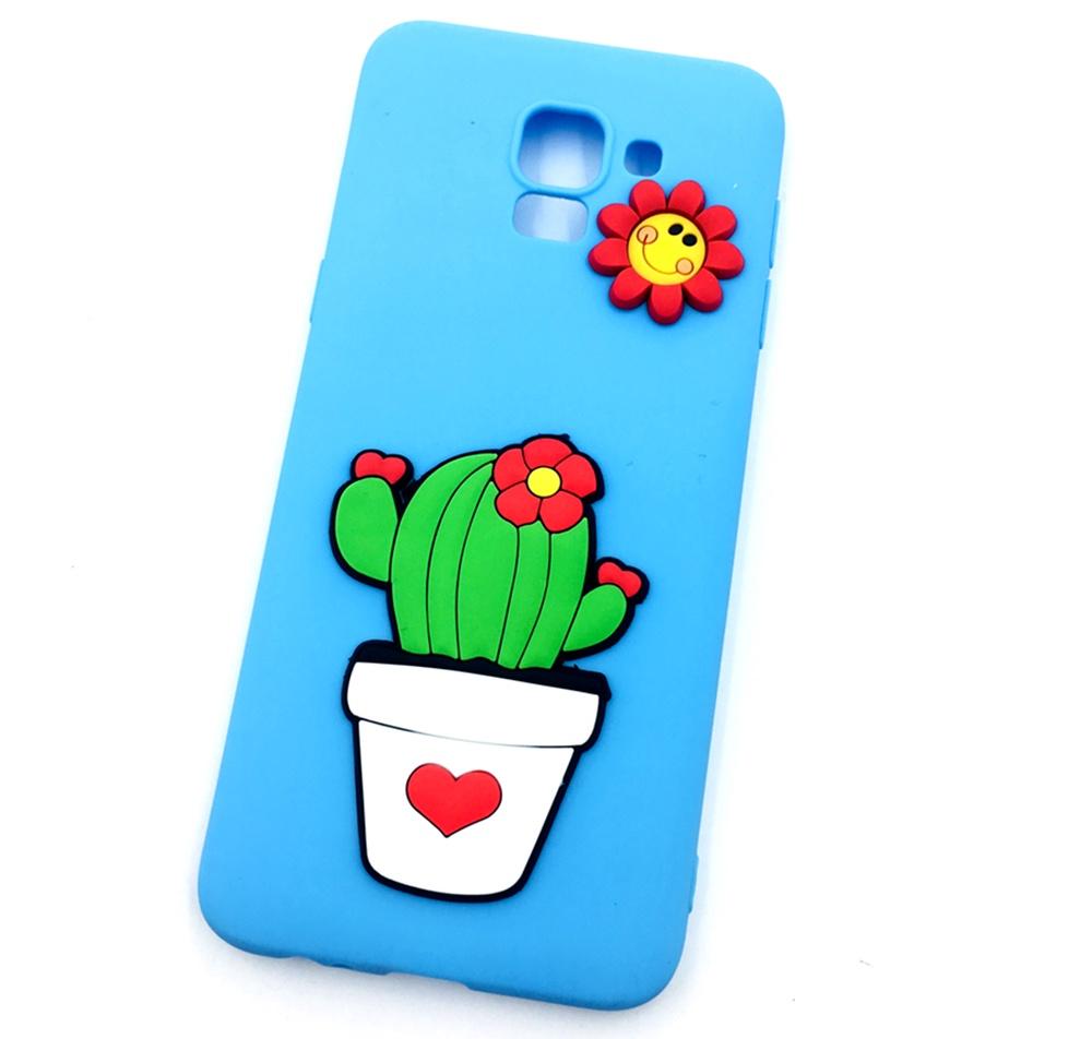 Чехол для сотового телефона Мобильная мода Samsung J6 Накладка резиновая с объемным рисунком-аппликацией