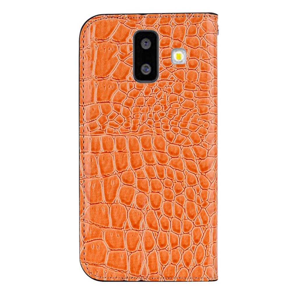 Чехол для сотового телефона Мобильная мода Samsung J6 Plus Чехол-книжка с блестками и структурой крокодильей кожи, оранжевый