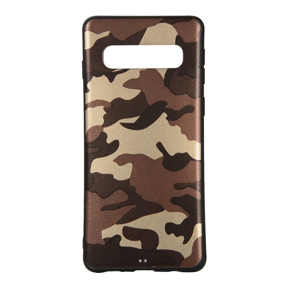Чехол для сотового телефона Мобильная мода Samsung S10 Накладка силиконовая с камуфляжным узором, коричневый