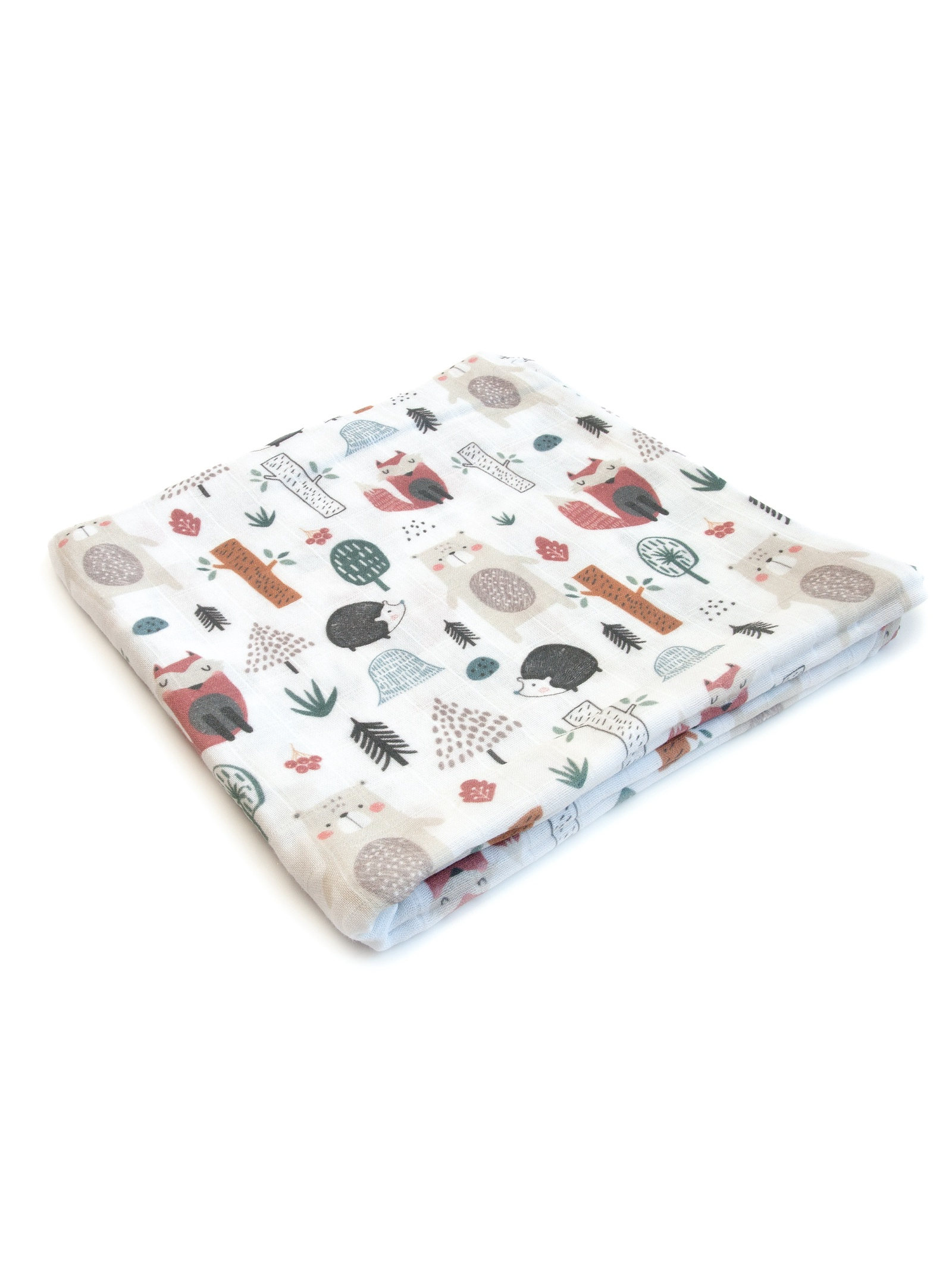 Пеленка текстильная MamSi Муслиновая пеленка Лиса и Медеведь красный, коричневый, серый