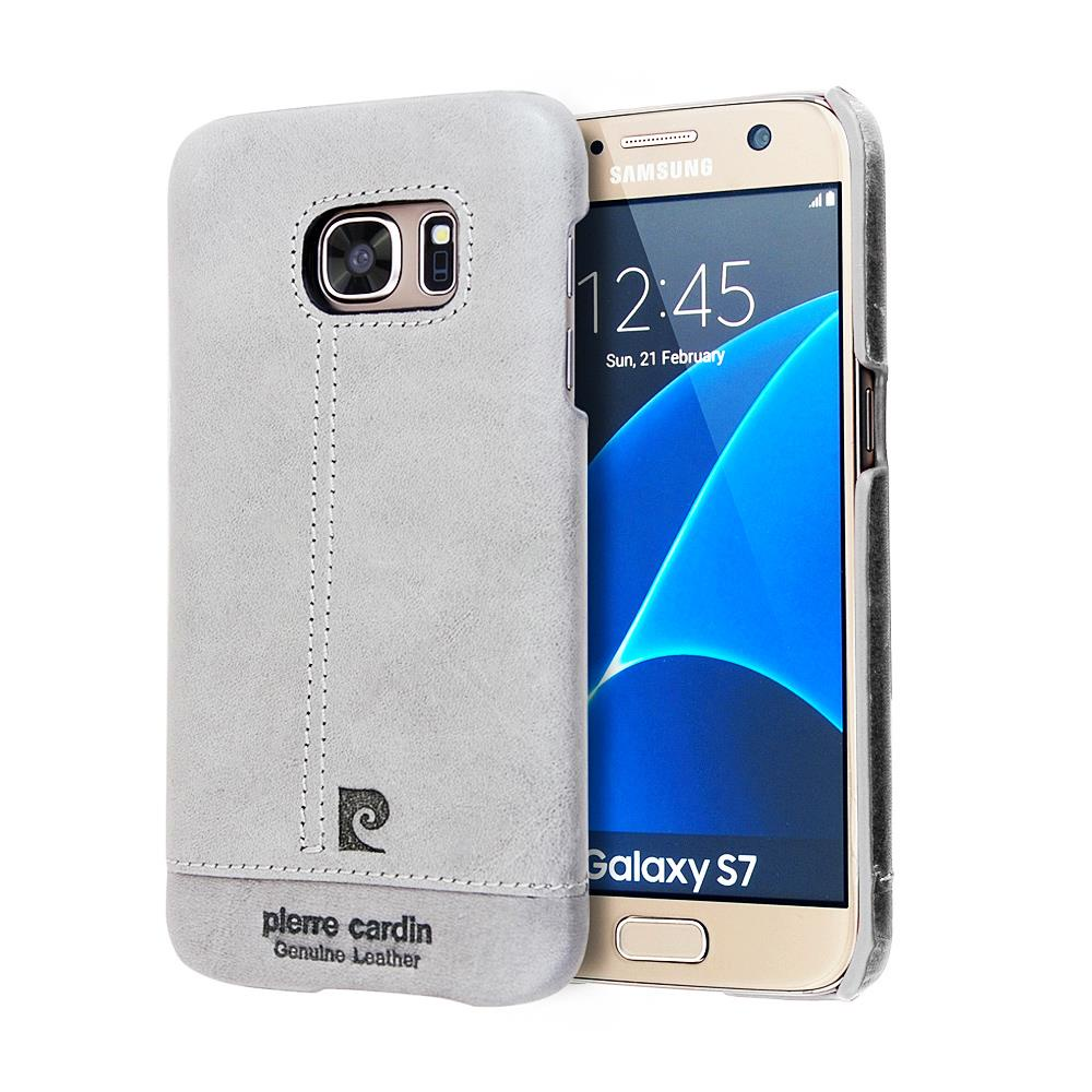 Чехол для сотового телефона Pierre Cardin элитный кожаный для Samsung Galaxy S7, серый цена 2017