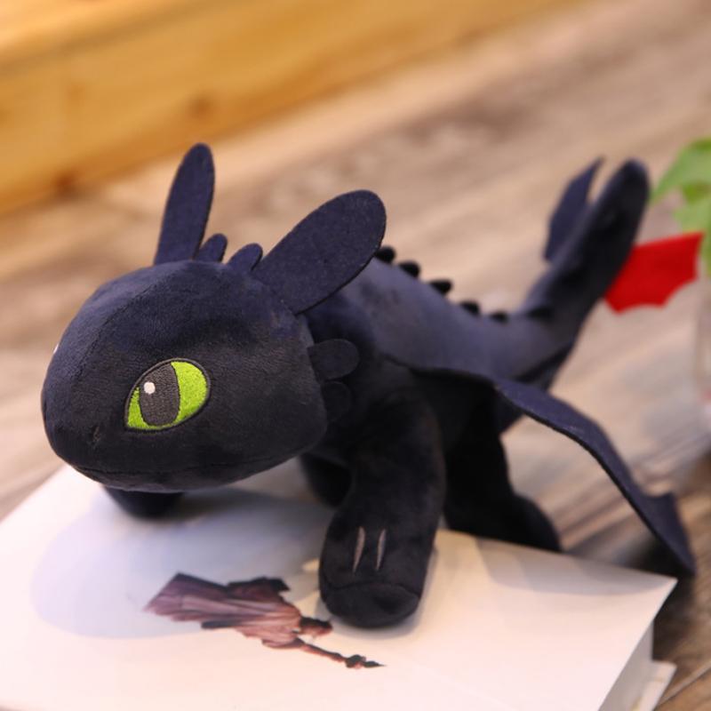 Мягкая игрушка TopSeller Дракон Беззубик черный