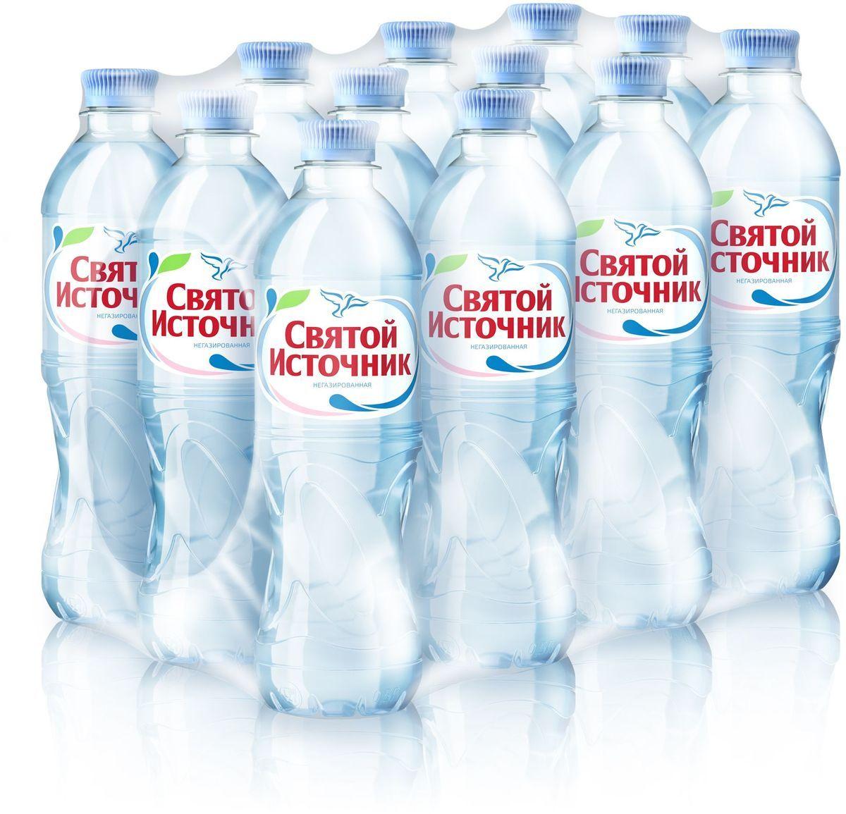 Вода питьевая Святой Источник негазированная, 0,5л (упаковка 12шт)