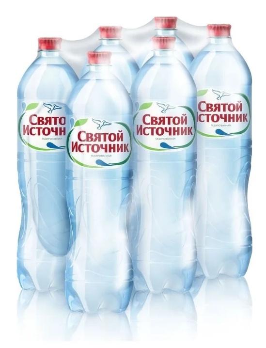 Вода питьевая Святой Источник газированная, 1,5л (упаковка 6шт)