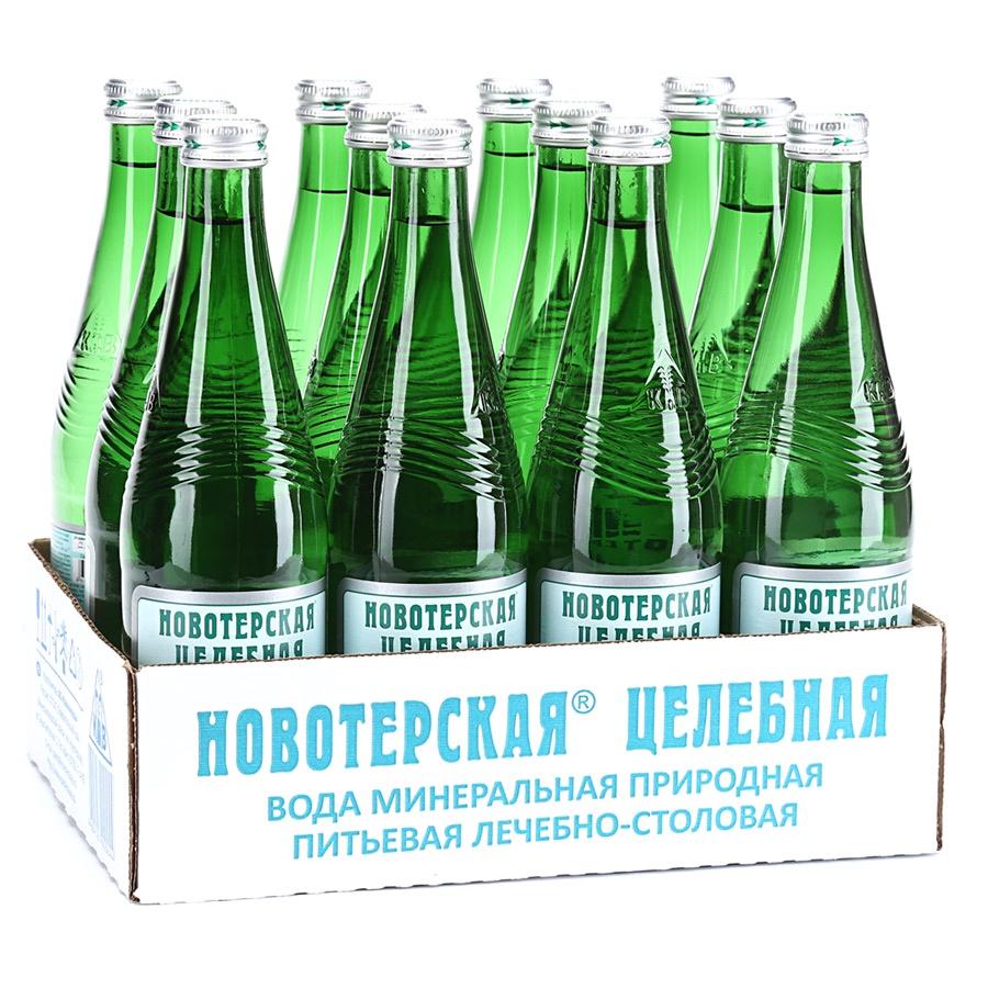 Вода Новотерская целебная минеральная газированная (стекло), 0,5л (упаковка 12шт)